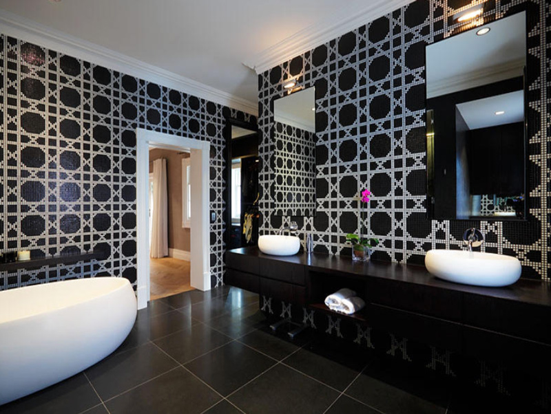 Wall Tiles, Floor Tiles, Bathroom Tiles, Bisazza Glass Mosaic Tile Patterned Tiles, Bisazza Vienna Nero