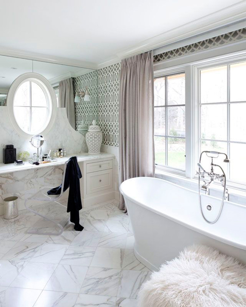 Floor Tiles, Marble Tiles, Bathroom Tiles, Carrara, Design by Tiffany Eastman Interiors
