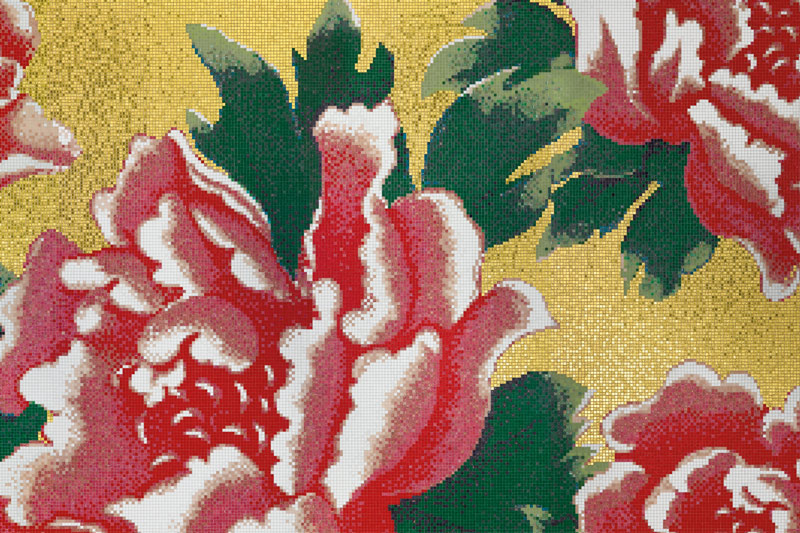Wall Tiles, Bisazza Tiles, Floral Design, Peonies Oro