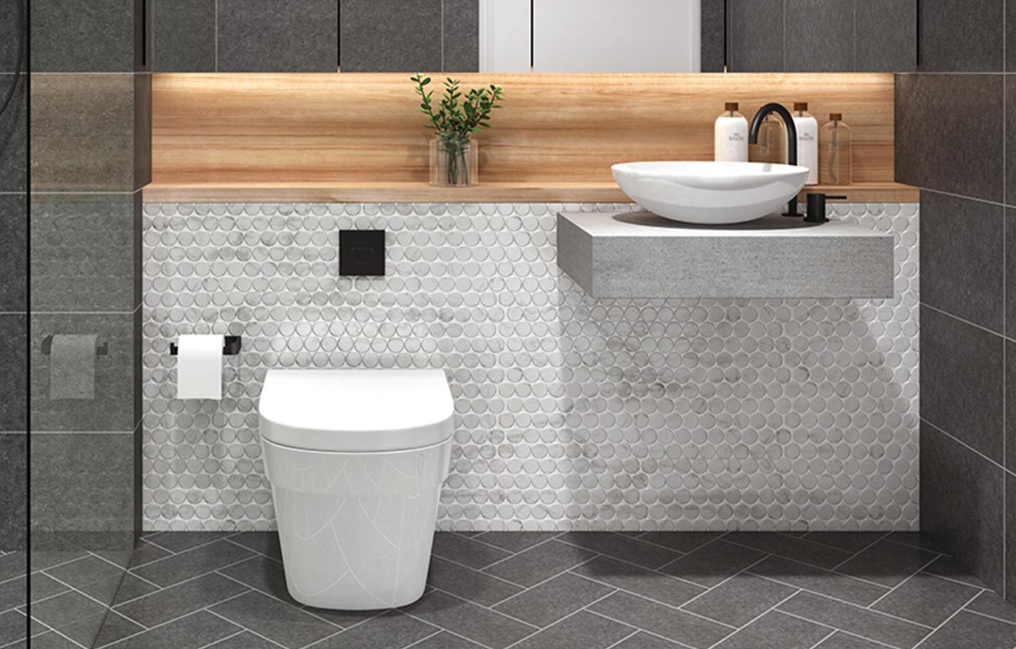 penny round bathroom wall tiles