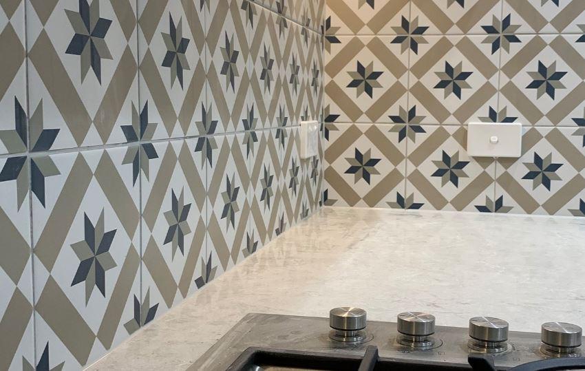 pattern tile splash back